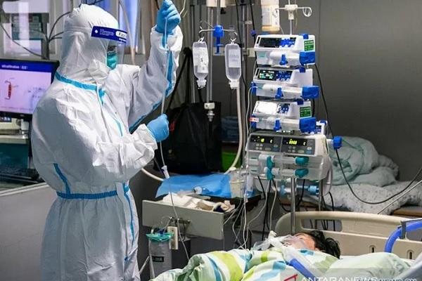 Seorang petugas medis menangani pasien yang terduga terkena virus corona di Zhongnan Hospital of Wuhan University, Wuhan, China, Jumat (24/1/2020). - Antara