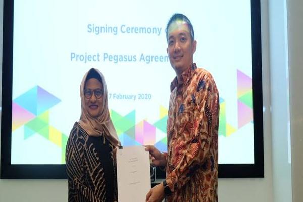 Direktur Utama XL Axiata Ibu Dian Siswarini (Kiri) dan Direktur Utama Centratama Menara Indonesia Yan Raymond (Kanan) saat meresmikan tender akusisi 1.054 menara. sumber: perseroan.