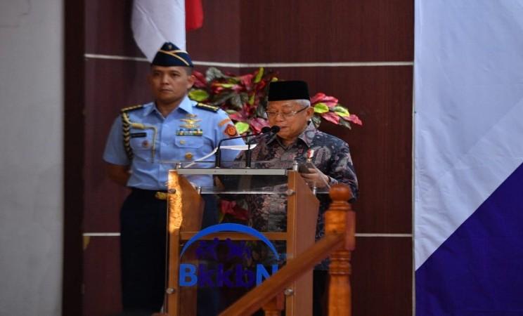 Wapres Ma'ruf Amin memberikan sambutan dalam acara Rakernas BKKBN, Rabu (12 - 2).