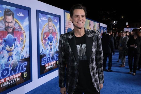 Jim Carrey dalam peluncuran perdana film Sonic The Hedgehod -  Instagram @sonicmovie