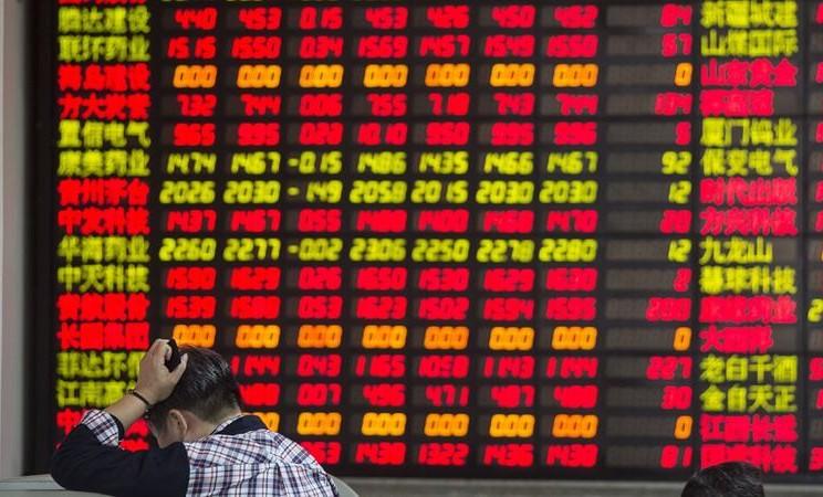 Ilustrasi. Bursa saham China. -  Qilai Shen/ Bloomberg