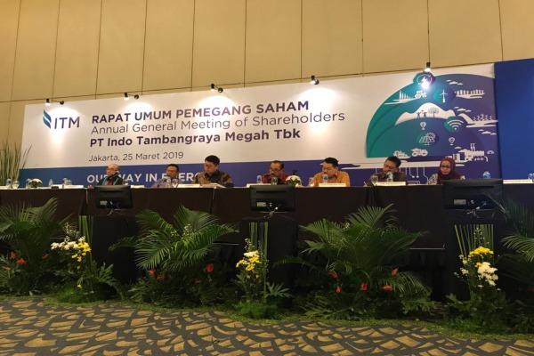 Direksi PT Indo Tambangraya Megah Tbk. menggelar konferensi pers usai menggelar rapat umum pemegang saham tahunan di Jakarta, Senin (25/3/2019)./Bisnis - M. Nurhadi Pratomo