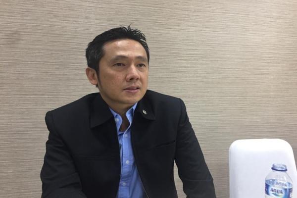 Usai RUPSLB, Head of Investor Relation Sampoerna Agro Michael Kesuma memberikan keterangan kepada wartawan, terkait perubahan jajaran direksi pada Rabu (27/2/2019)./Bisnis - Novita. S. Simamora