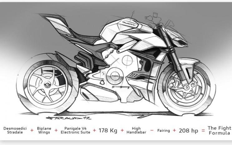 Sketsa Ducati Streetfighter V4 - Dok./Ducati.