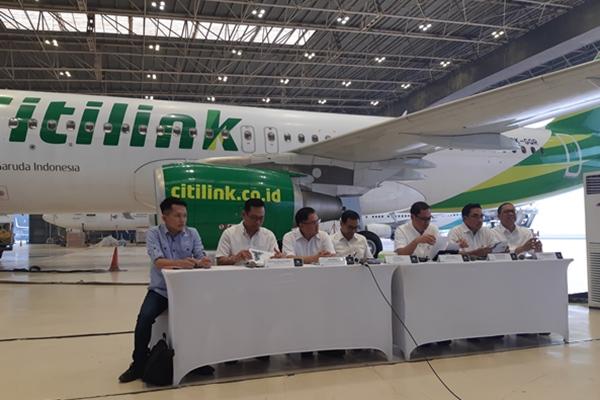 Manajemen Garuda Indonesia saat menggelar paparan publik di Hanggar 4 Garuda Maintenance Facility Aero Asia, Bandara Internasional Soekarno-Hatta, Tangerang, Rabu (8/5/2019) - Bisnis/Muhammad Ridwan