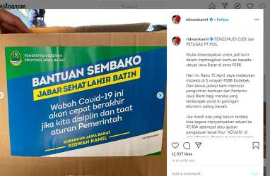 @ridwankamil: Paket Sembako PSBB Bodebek Dikirim via Ojol, Opang, Pos