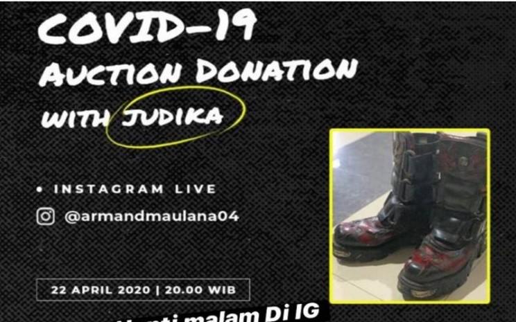 Penyanyi Judika melelang sepatu kesayangan miliknya seharag Rp6 juta untuk penanggulangan Covid-19. - Instagram@jud1ka