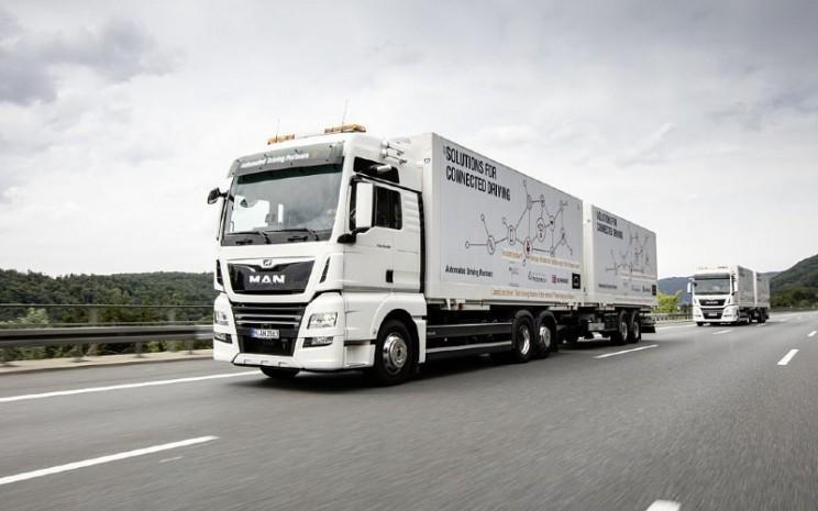 Uji truk otonom dalam kelompok gandengan alias platooning di Jerman. /Volkswagen