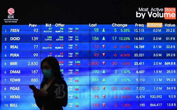 Pengunjung melintasi layar monitor perdagangan Indeks Saham Gabungan (IHSG) di Bursa Efek Indonesia, Jakarta, Senin (20/4/2020). Bisnis - Abdurachman