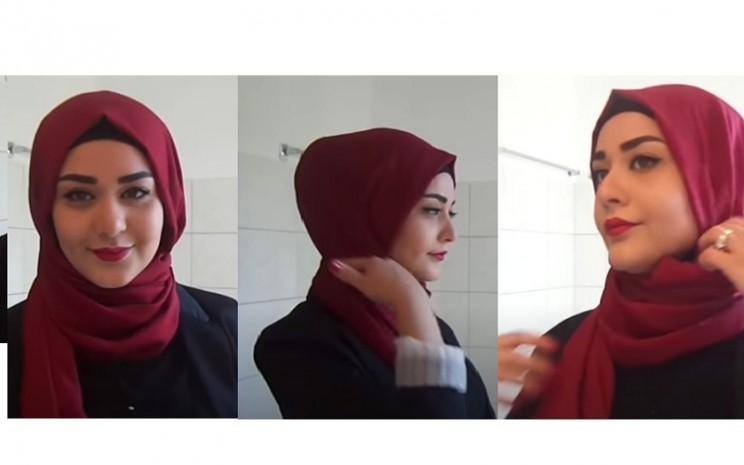 Still foto video tutorial mengenakan Hijab Turki diunggah channel Muslim Queens di Youtube