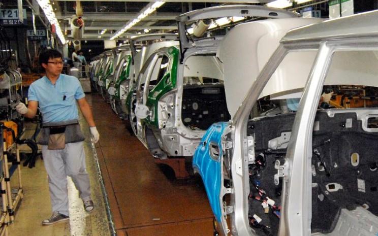 Pabrik Hyundai di Korea Selatan. Rantai pasok Hyundai bersama afiliasinya Kia Motors menguasai pasar otomotif di Korea Selatan.  - REUTERS