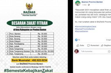 Zakat Fitrah Provinsi Banten Rp30.000, ini Cara Bayar Online via Aplikasi
