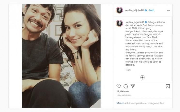 Aktris Sophia Latjuba mengunggah dukungan bagi sahabatnya, Dwi Sasono, di akun media sosialnya, Senin (1/6 - 2020). Aktor Dwi Sasono pada 26 Mei 2020 ditangkap di kediamannya dengan dugaan kasus narkoba.