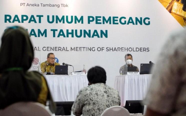 Suasana Rapat Umum Pemegang Saham Tahunan 2019 PT Aneka Tambang Tbk di Jakarta, Kamis (11/6 - 2020). Istimewa