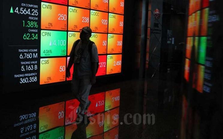Pengunjung melintas didekat papan elektronik yang menampilkan perdagangan harga saham di Jakarta, Rabu (22/4/2020). Bisnis - Dedi Gunawan