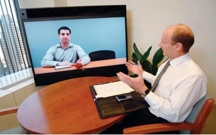 Ilustrasi wawancara kerja secara vitrual. - Antara
