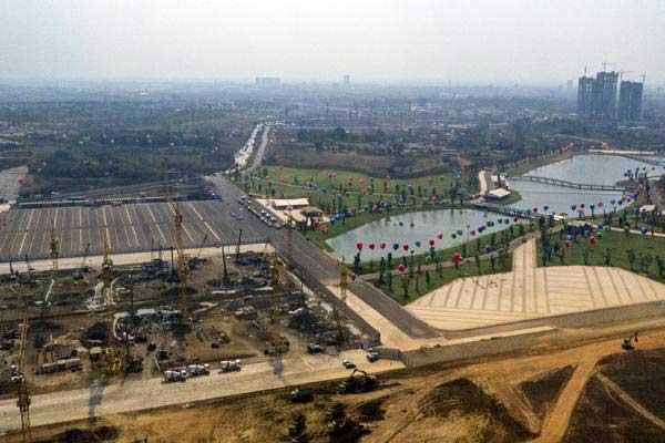 Foto aerial pembangungan megaproyek Meikarta di Cikarang, Bekasi, Jawa Barat, Kamis (14/9). - ANTARA/Hafidz Mubarak A