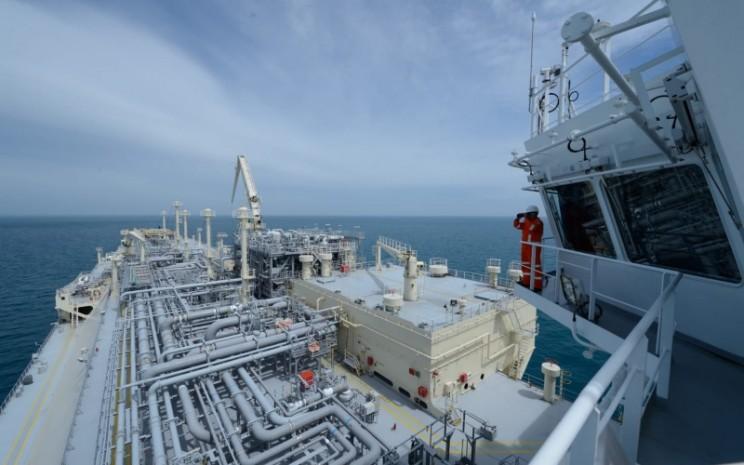 Fasilitas terminal dan pengelolaan gas terapung (Floating Storage and Regasification/FSRU) gas alam cair (LNG) Lampung PT Perusahaan Gas Negara Tbk (PGN). Istimewa - PGN