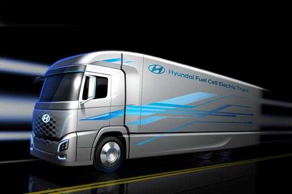 Sekilas model truk listrik hidrogen Hyundai. - Hyundai