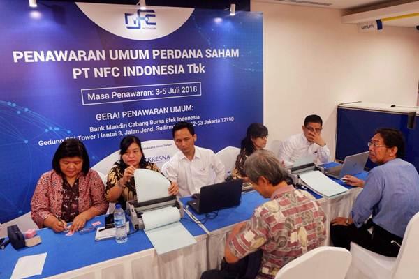 Suasana penawaran umum perdana saham PT NFC Indonesia Tbk di Jakarta, Selasa (3/7/2018). - JIBI/Nurul Hidayat