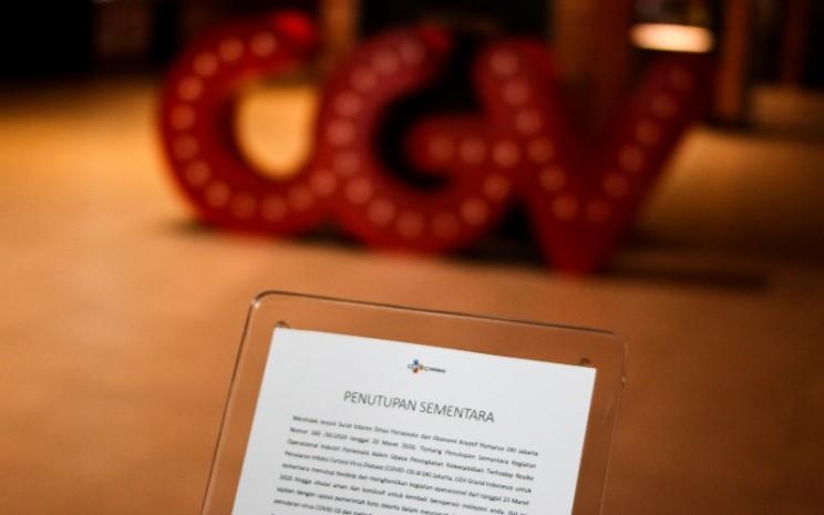 Suasana bioskop CGV yang tutup di Grand Indonesia, Jakarta, Senin (23/3/2020). Dalam upaya pencegahan penularan COVID-19, Pemerintah Provinsi DKI Jakarta melakukan penutupan sementara kegiatan operasional usaha hiburan dan rekreasi selama dua pekan terhitung tanggal 23 Maret sampai 5 April 2020. - ANTARA FOTO/Rivan Awal Lingga