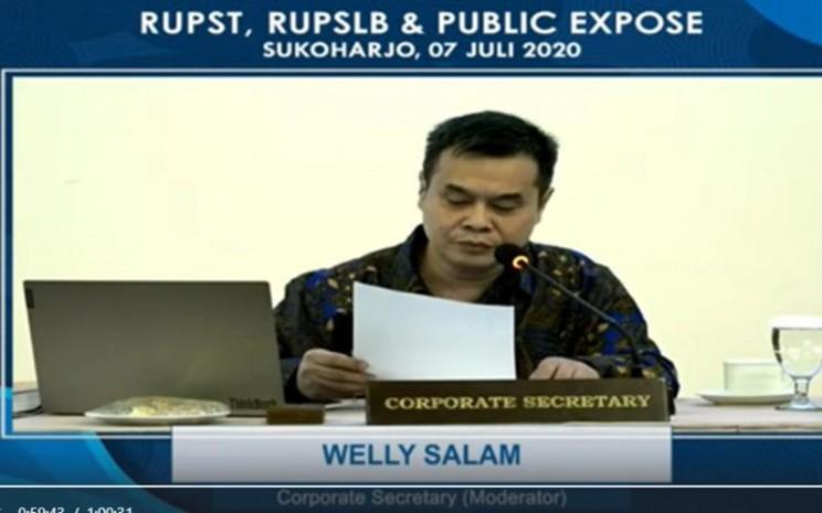 Sekretaris perusahaan PT Sri Rejeki Isman Tbk (SRIL) Welly Salam dalam paparan publik virtual, Selasa (7/7 - 2020).