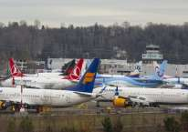 Pesawat-pesawat model 737 Max buatan Boeing diparkir di dekat lapangan udara milik Boeing di Seattle, Washington, AS, Selasa (17/12/2019)./Bloomberg-David Ryder