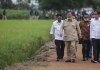 """Presiden Joko Widodo (kanan) bersama dengan Menteri Pertahanan Prabowo Subianto saat meninjau lahan yang akan dijadikan """"Food Estate"""" atau lumbung pangan baru di Pulang Pisau, Kalimantan Tengah, Kamis (9/7/2020). Pemerintah menyiapkan lumbung pangan nasional untuk mengantisipasi krisis pangan dunia. ANTARA FOTO/Hafidz Mubarak A"""