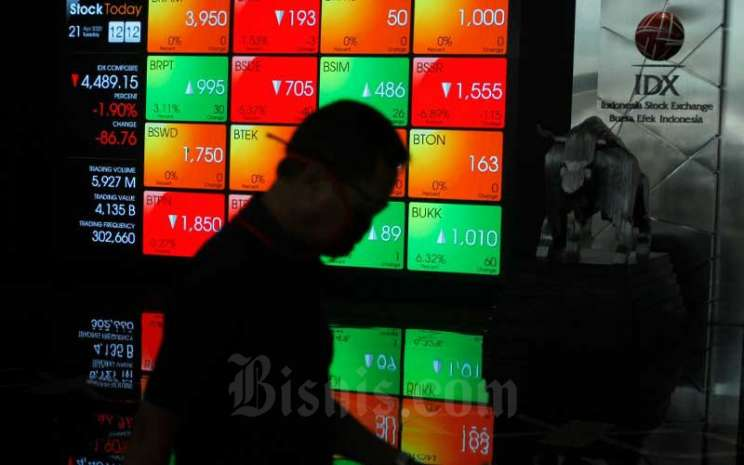 Karyawan melintas di dekat layar pergerakan Indeks Harga Saham Gabungan (IHSG) di Bursa Efek Indonesia (BEI), Jakarta, Selasa (21/4/2020). Bisnis - Himawan L Nugraha