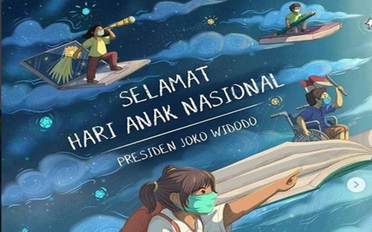 Presiden Joko Widodo mengucapkan Selamat Hari Anak Nasional kepada seluruh anak di Indonesia. JIBI - Bisnis/Nancy Junita