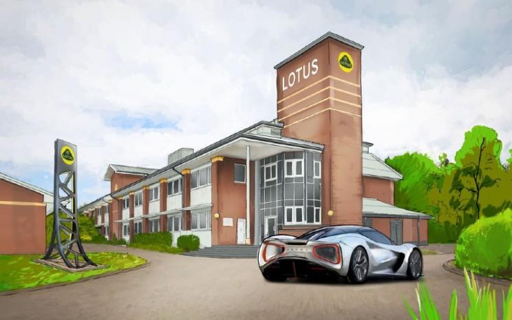 Lukisan gambar Pusat Riset dan Pengembangan Lotus Cars di Kampus Wellesbourne University of Warwick. - Lotus Cars