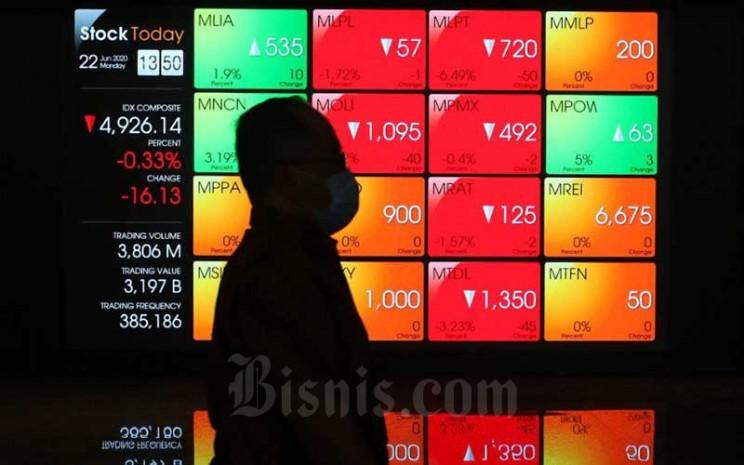 Pengunjung melintas di dekat papan layar elektronik yang menampilkan pergerakan Indeks Harga Saham Gabungan (IHSG) di Bursa Efek Indonesia (BEI), Jakarta, Senin (22/6/2020). - Bisnis/Eusebio Chrysnamurti