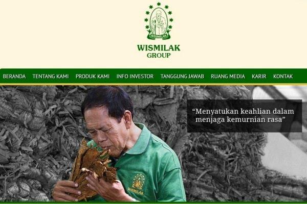 Screenshot website - wismilak.com