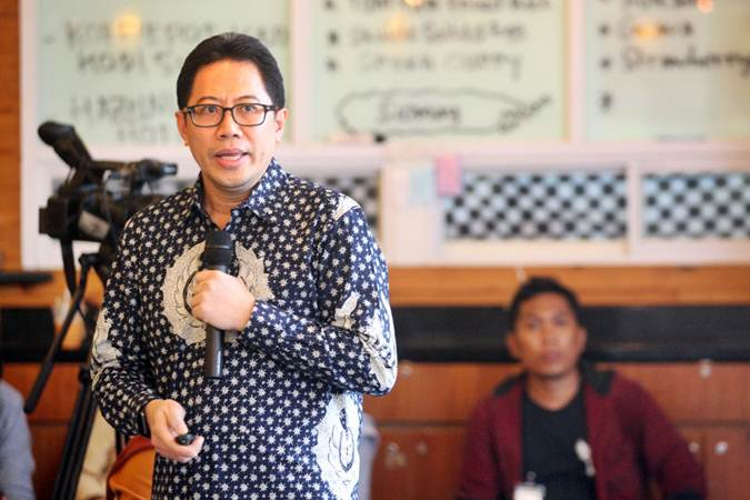 Direktur Penilaian Perusahaan PT Bursa Efek Indonesia (BEI) I Gede Nyoman Yetna Setia memberikan penjelasan di Jakarta, Rabu (20/3/2019). - Bisnis/Dedi Gunawan