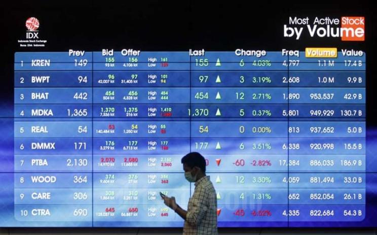 Karyawan beraktifitas di dekat layar pergerakan Indeks Harga Saham Gabungan (IHSG) di Bursa Efek Indonesia, Jakarta, Selasa (23/6/2020). Bisnis - Himawan L Nugraha