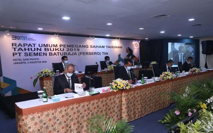 Suasana RUPS PT Semen Baturaja (Persero) Tbk. tahun buku 2019 yang dilaksanakan Rabu (5/8/2020). - Istimewa