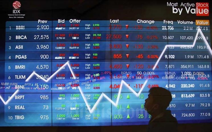 Pengunjung mengamati papan elektronik yang menampilkan pergerakan Indeks Harga Saham Gabungan (IHSG) di Bursa Efek Indonesia, Jakarta, Rabu (15/4/2020). Bisnis - Eusebio Chrysnamurti