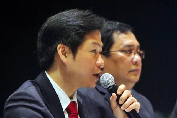 Direktur Utama PT Media Nusantara Citra David Fernando Audy memberikan keterangan saat RUPSLB, di Jakarta, Kamis (20/12/2018). - Bisnis/Abdullah Azzam