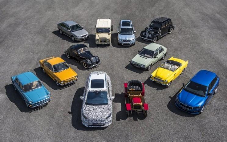 12 model yang menunjukkan perjalanan penting Skoda Auto selama 125 tahun.  - SKODA