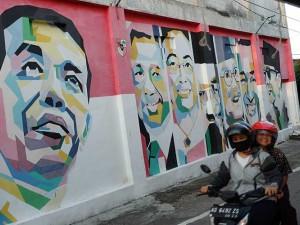 Mural Wajah Presiden Indonesia Dari Soekarno Hingga Joko Widodo Menghiasi Kampung di Solo