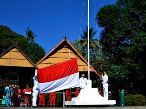 Masyarakat di Kabupaten Gowa Sulsel Gelar Upacara Bendera HUT RI Ke-75 Lebih Awal