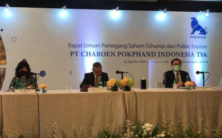 Rapat umum pemegang saham tahunan (RUPST) PT Charoen Pokphand Indonesia Tbk pada Selasa (25/8 - 2020) memutuskan pembagian dividen tunai sebesar Rp81 per saham atau 36,54 persen dari laba bersih tahun buku 2019.