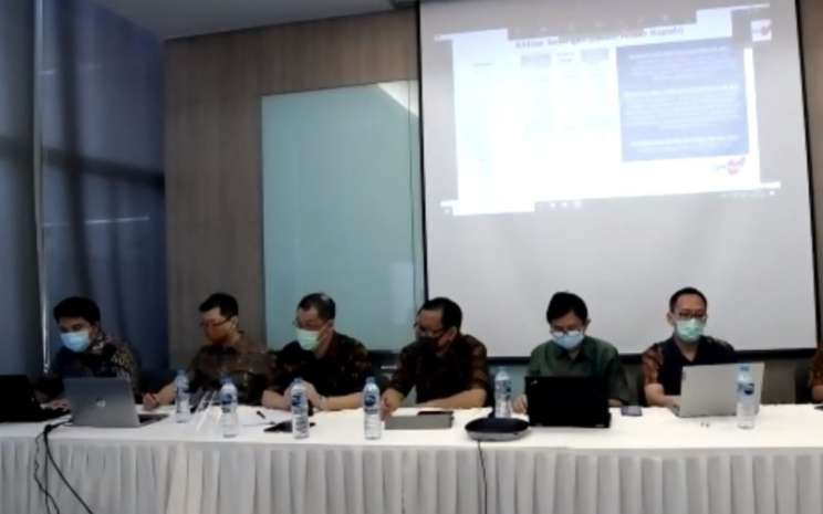 Manajemen PT Tiga Pilar Sejahtera Food Tbk. (AISA) atau TPS Food memberikan pemaparan dalam acara paparan publik insidentil, Kamis (30/7/2020). - Ria Theresia Situmorang\\n