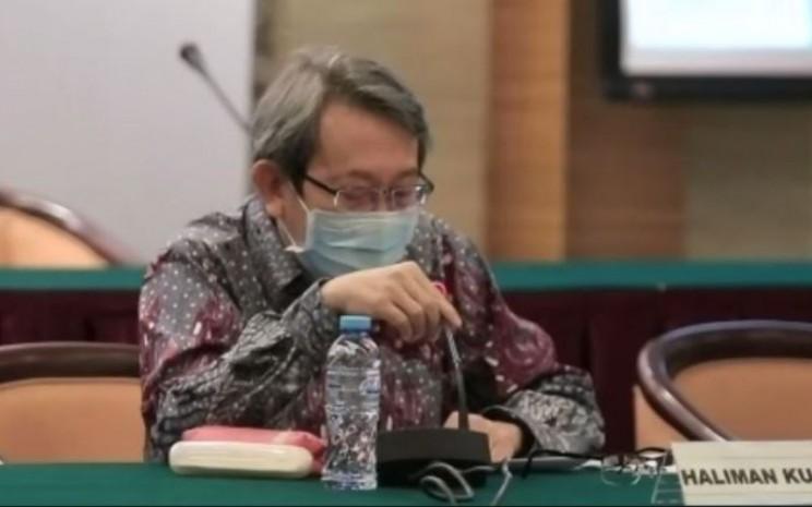 Direktur Utama Indoritel Makmur Internasional Haliman Kustedjo dalam paparan publik perseroan yang berlangsung di Jakarta, Senin (31/8 - 2020)