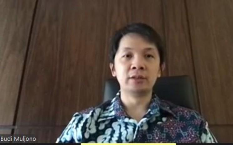 Direktur Keuangan Kino Indonesia Budi Muljono memberikan paparan kinerja dalam acara Pubex Live 2020, Rabu (26/8 - 2020).