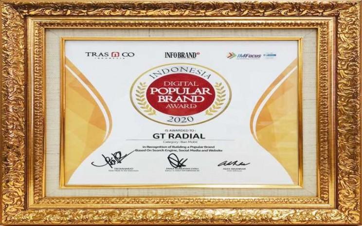 GT Radial dan IRC Raih Penghargaan Indonesia Digital Popular Brand Award 2020. - Istimewa
