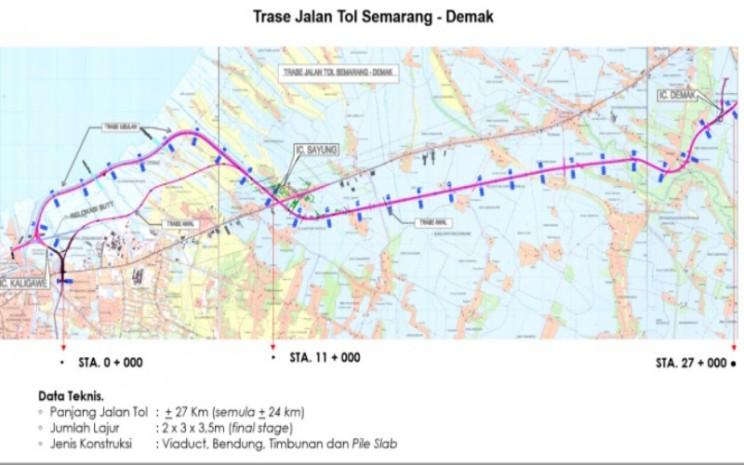 Trase Jalan Tol Semarang/Demak. Istimewa