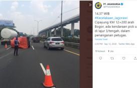 Pick up Terguling di Cipayung, Jagorawi KM 9 ke Bogor Tersendat