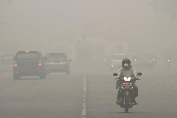 Pengendara sepeda motor melintasi jalan yang dipenuhi kabut asap kebakaran hutan dan lahan, di Pekanbaru, Riau, Senin (14/9). Akibat kabut asap kebakaran hutan dan lahan, jarak pandang di Pekanbaru tidak lebih dari 100 meter pada pagi hari. - Antara/Rony Muharrman