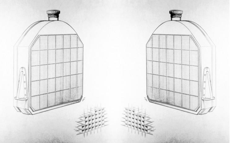 Radiator sarang lebih diikuti oleh radiator vertikal dan runcing, juga fitur desain yang menentukan selama beberapa dekade.  - Daimler
